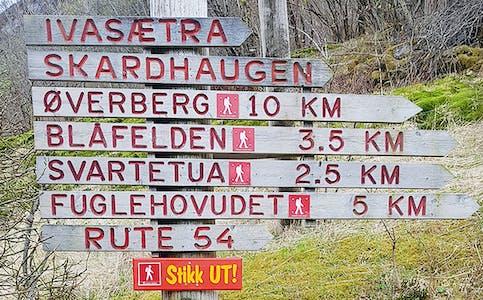 SYVDE: Blåfelden er einaste tur som er markert som raud i Vanylven.