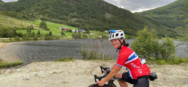 Camilla Helen Landsverk, frå Syvde, vart sist helg norgesmeister i terrengsykkel master maraton.