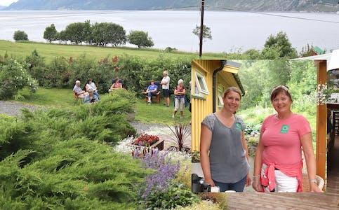 HAGELAGET har fleire planar for hausten. Her frp hagevandring i fjor sommar, med Britta Mäder og Guri Dragseth Brekke i kiosken.
