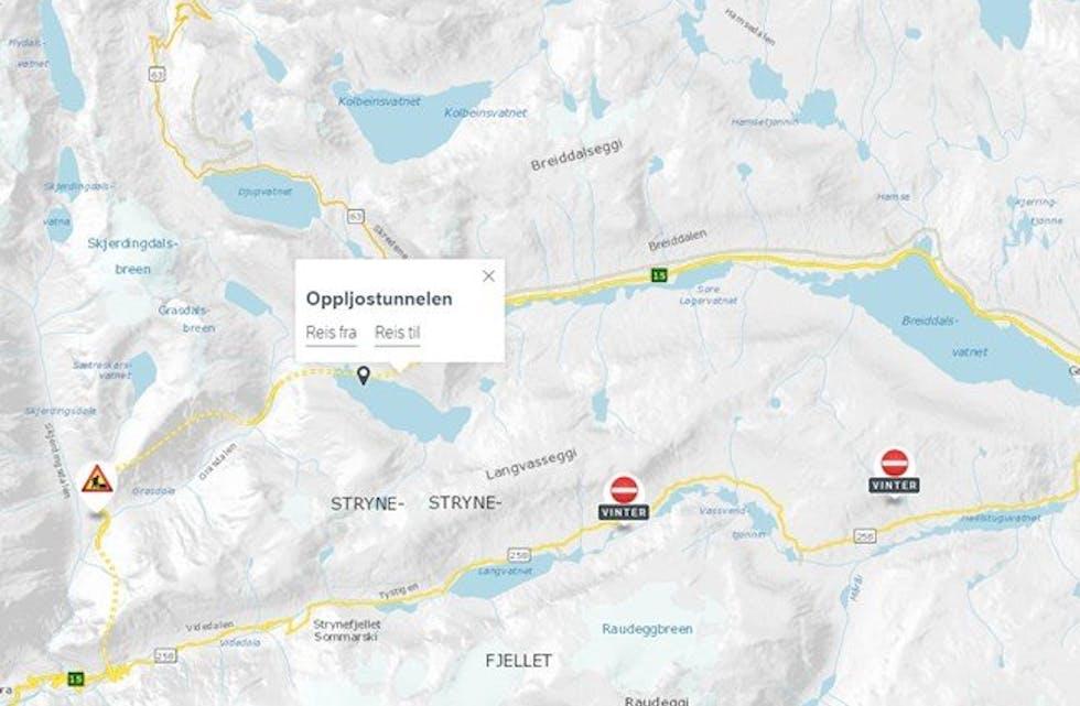 Oppljostunnelen på Strynefjellet må stengjast halvanna døgn i veke 40. Foto: Skjermdump/faksimile: Statens vegvesen